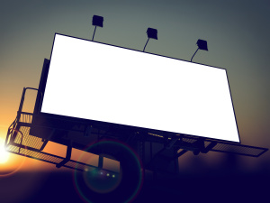 Blank Billboard on the Rising Sun Background for Your Advertisement.